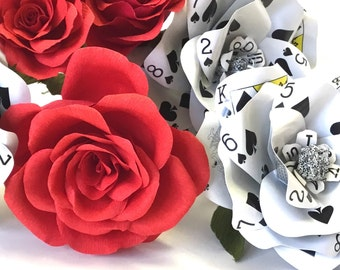 3 Poker Flowers Made from Playing Cards Make a Paper Flower Rose for Your Wedding Bouquet, Valentine Gift or Casino Party Decor