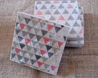 Triangle Pattern - Modern Design - Set of 4 Stone Drink Coasters