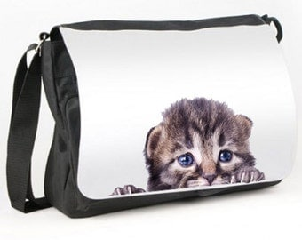 Cute KITTEN PEEPING Messenger Bag