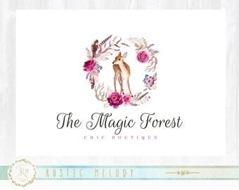 Floral Logo, Deer Logo Design, Florist Logo, Doe Logo, Photography Logo ,Baby Boutique Logo ,Watermark