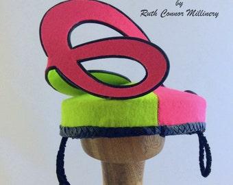 Ladies Hat Fascinator Womens Felt Mini Hat Racewear Hot Pink and Lime Green