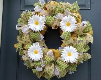 Yellow burlap summer/spring wreath