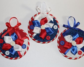 Red, White and Blue Wall Hanging-4th of July Wall Hanging-Red, White and Blue Ornament-Patriotic Wall Decor-Veterans Day-July 4th-Set of 3