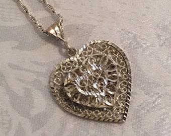 Vintage Sterling Silver Filigree Heart Pendant Necklace