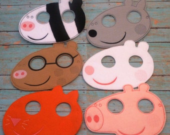 Pig Friends and Family Felt Masks! Pig, Cat, Sheep, Pony, Dog and Zebra! Dress up or Birthday Favor! Quality Embroidery and Applique.