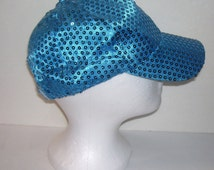Turquoise Sequined Rave Disco Baseball Style Hat Cap Adj Sz S-XXL for Cosplay, Clubbing, Raves, Theater, Parties, PokemonGo Teams, Etc.