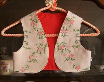 Girl's 3/4T Bolero Vest, Girl's Vest 3/4T, Vintage Girl's Vest, Pink Vest