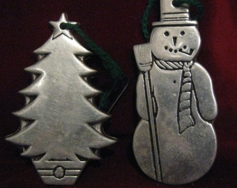 "WILTON COLUMBIA PEWTER Ornament Set of 2 Snowman Broom Christmas Fir Tree 3.25"" Vintage 1975 Christmas Tree Holiday Hanging Decoration 312"