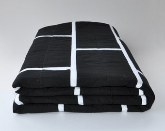 Modern geometric quilt. Black and white brick tile quilt. Minimalist. Monochrome. Throw Rug. Bed linen.