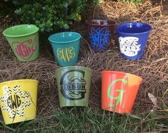 Personalized Flower Pot/Planter -  Monogram Flower Pot -