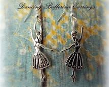 Ballerina Earrings, Dancer Earrings for Girls Jewelry Gift, Silver Dangle Earrings