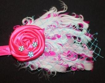 French Feather Headband (Fuschia & Teal)