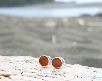 Redwood Earrings, Wood Jewelry, Stud Earrings, Jewelry made of Redwood & Silver, Geometric, Modern, Ethical