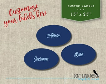 DIY Oval Printable Spice Jar Labels - Blue Script Elegant Spice Jar Labels - Home Organizing - Printable Stickers - Custom Label, Color