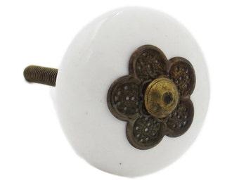 Myosotis White Ceramic Knob with Metal Flower on front, Dresser, Drawer, Cabinet, Door - i61