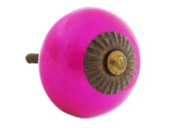 Neon Pink Ceramic Knob Pull for Dresser, Drawer, Cabinet or Door - i57