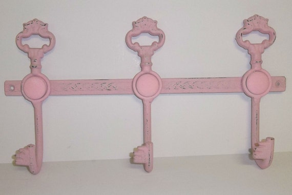Shabby Chic Chalky Painted Key Hooks Wall Decor (3 colors)