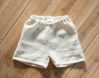 Boys Linen Shorts, Natural or White, Baby Boys Linen Shorts, Toddler Boys Linen Shorts