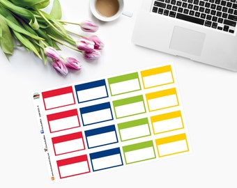 HALF BOX Rectangles Planner Stickers in Erin Condren Monthly colours - July - August - CAM00111-4