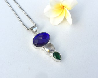 FREE CHAIN - Cobalt Blue Fire Topaz , Crystal and Green Quartz Pendant - Sterling Silver Charm Pendant