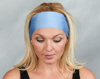 Running Headband Shiny Periwinkle Blue Headband Fitness Headband Yoga Headband for Women Workout Headband Bohemian Headband Women Turban
