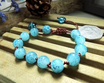 Blue Bead Bracelet, Bohemian Leather Bracelet, Leather Jewellery, Funky Bracelet, Stacking Bracelet, Costume Jewelry, Funky Accessories
