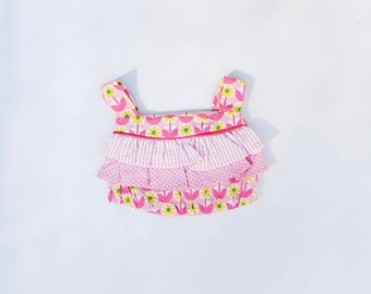 Baby girls ruffled top - size 1 - Pink floral cotton toddler top .