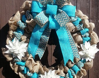 Blue ribbon burlap Christmas wreath with & without Initials,hoilday wreath, Christmas wreath ,flower wreath ..