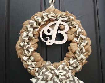 Monogrammed burlap  wreath ,chevron  wreath,door wreath,door decorations wreath,wedding gift , wedding decorations