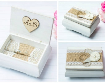 Rustic Wedding Ring Box White Ring Bearer Personalized Burlap Ring Holder wedding