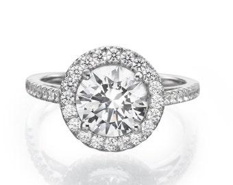 Diamond Engagement Ring Matching Wedding Band Round Brilliant Halo Set 14Kt White Gold
