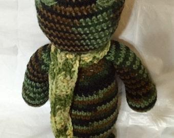 Crocheted Ninja With Scarf, Amigurumi Ninja, Handmade Ninja, Ninja Camouflaged