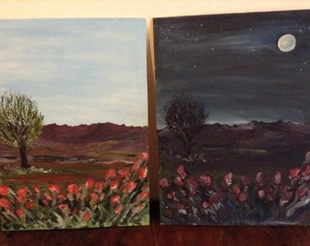 "Paintings-landscapes ""day and night""-acrylic"