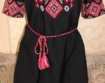 Dress Red on Black Embroidery Dress