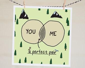 You and Me Card | Venn Diagram Valentine's Day Card | Perfect Pair | Anniversary Card | Love Card | Engagement Card | Handmade