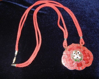 Vintage Asian Inspired Cord Pendant Necklace