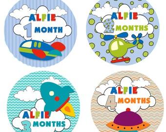 Personalised Baby milestone stickers,baby monthly stickers Age Milestone stickers Transport Monthly growth stickers,babygrow onesie, vest
