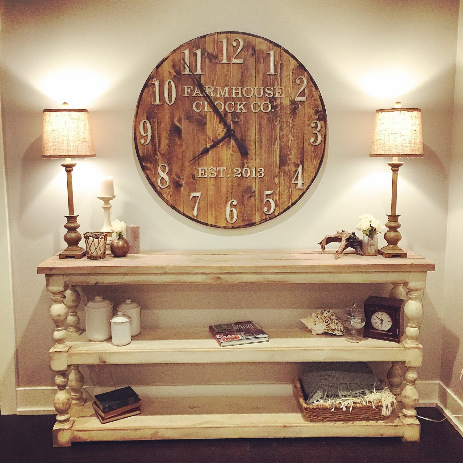 Oversized Round Wall Decor : Farmhouse clock co standard numeral wooden wall