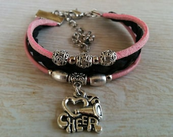 Cheer Bracelet// Cheer Coach Gift// Cheerleading Gift// Cheer Mom// Pink & Black Teen Sports Bracelet// Choose Cord Colors and Charm