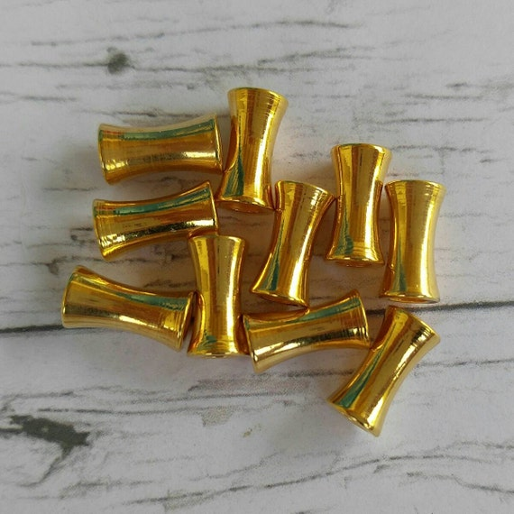 Gold spacer beads metal tube hourglass