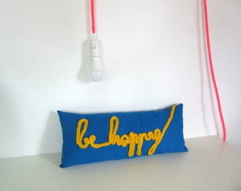 Cushion blue and mustard yellow French knitting BE HAPPY