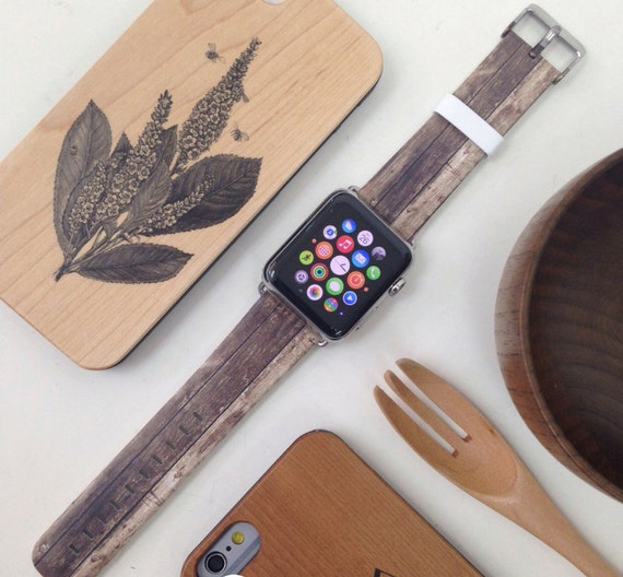 Apple Watch band 38mm Apple Watch Series 1 and Series 2 iWatch strap Handmade Hand-made Leather With Adapter 38 / 42 mm - Brown Faux Wood
