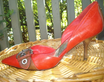 Red BCBGirls Size 9 Women's Pumps/Shoes/High Heels/Vintage/Buckle