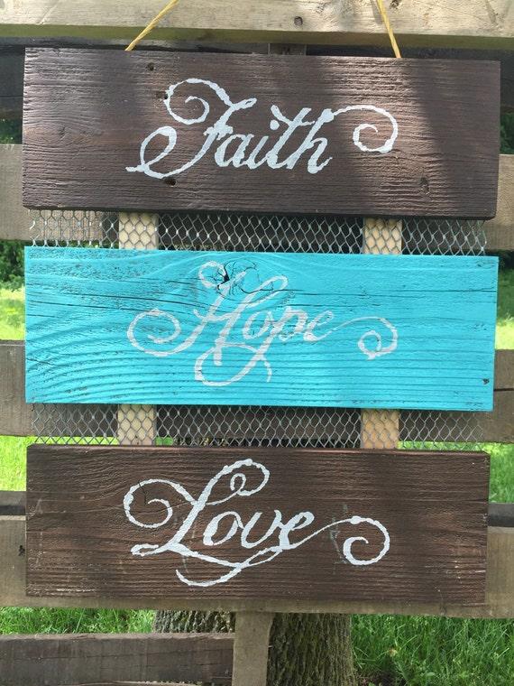 Faith hope and love wall decor by simplysinclaircrafts on etsy for Faith decor