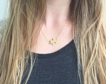Gold Autism Awareness Puzzle Necklace / 14kt Gold Filled / Personalized