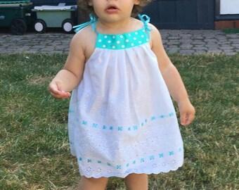 Toddler Girl White Top Eyelet Sundress Leggings