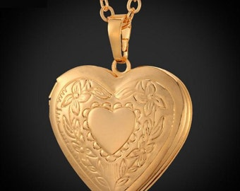 Medallion pendant with necklace 18 K real Gold / Platinum plated (002)