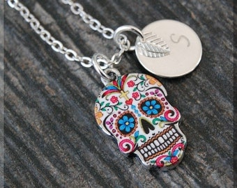 Silver Sugar Skull Charm Necklace, Initial Charm Necklace, Personalized Necklace, Day of the Dead Charm, Sugar Skull Pendant, Skull Jewelry
