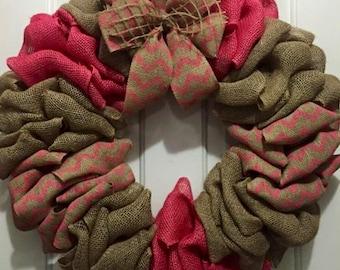 Wreath, Burlap Wreath, Coral