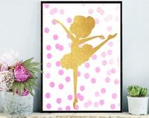 Ballet Print, Printable Art, Ballerina Print, Ballet Art, Nursery Art, Girls Room Decor, Pink Gold Ballerina, Wall Decor, Instant Download